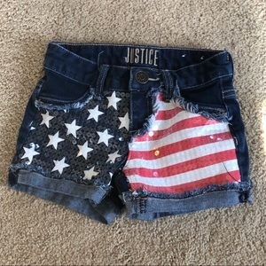 Justice Girls Shorts American Flag
